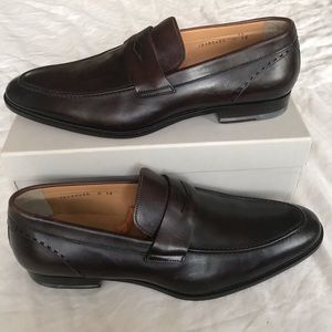 Santoni brown leather loafers